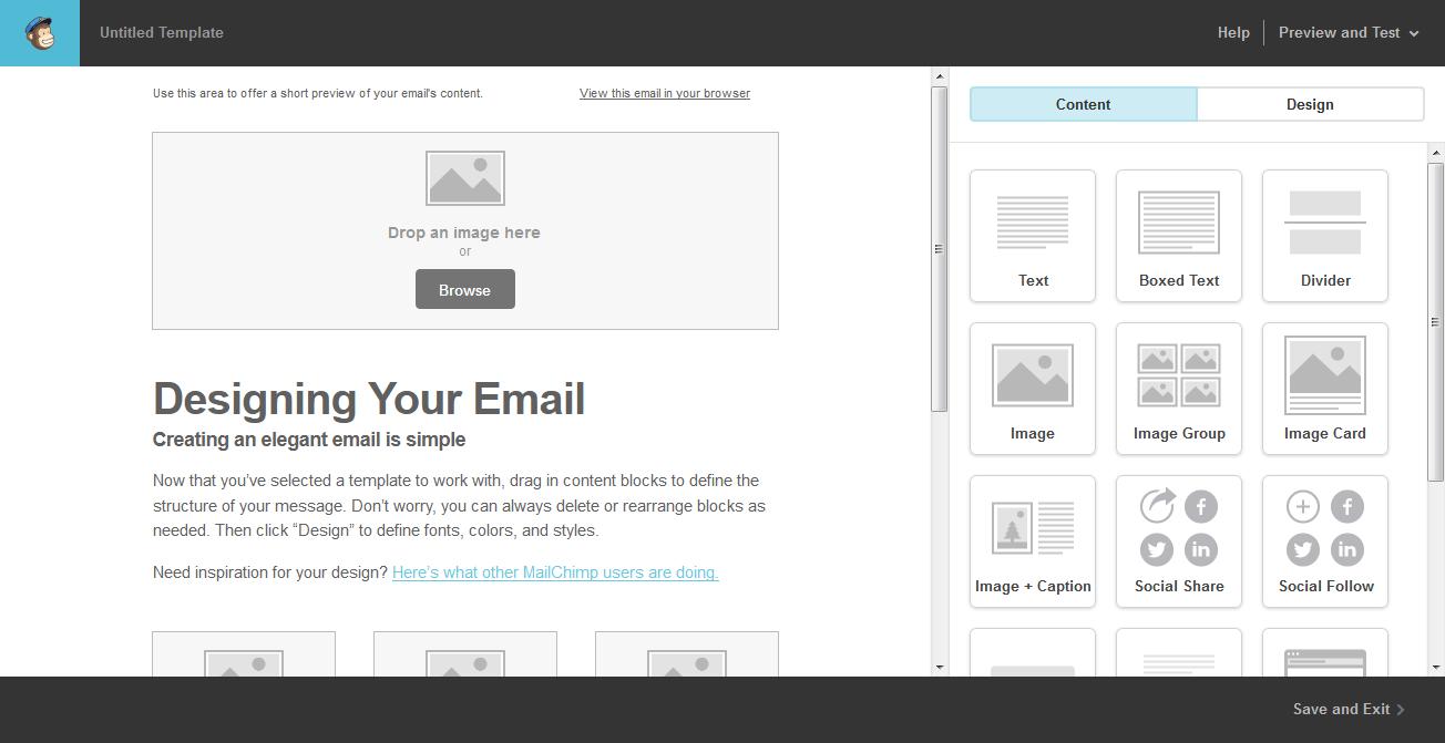 Crear un boletín en Mailchimp